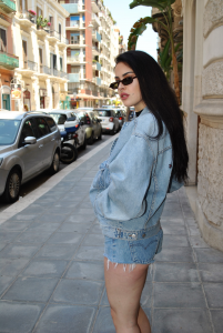 Giacca a Jeans Vintage con stampa fatta a mano 90's