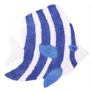 Tappeto da bagno PESCE blu 60x60 cm puro cotone linea mare