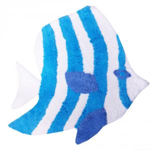 Tappeto da bagno PESCE turchese 60x60 cm puro cotone linea mare