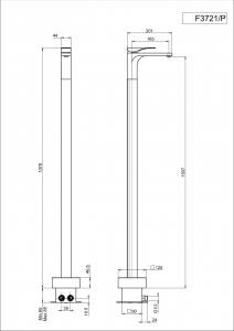 MISCELATORE LAVABO A PAVIMENTO SERIE QUAD - F3721/P