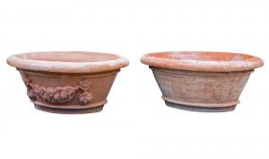 Tinozza Ovale in Terracotta Liscia e Festonata
