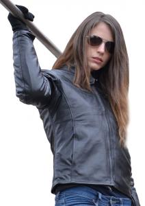 Giacca moto donna in pelle Jollisport Layla nero