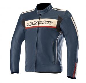 Giacca moto pelle Alpinestars DYNO V2 blu marino rosso