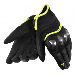 Guanti moto pelle Dainese X-Run con protezioni nero giallo fluo