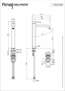 MISCELATORE LAVABO ALTO XS SERIE SPILLO UP - F3031/HXS