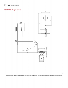MISCELATORE LAVABO A PARETE BOCCA 201 mm SERIE SPILLO UP - F3051VLX5