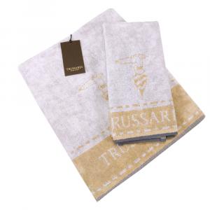 Trussardi set 1+1 asciugamano e ospite in spugna BORDER STITCH sand