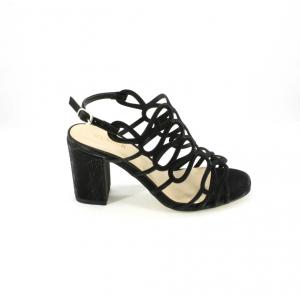 Sandalo cerimonia donna elegante nero glitter e cinghietta regolabile Art.09524