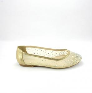 Ballerine eleganti donna in tessuto rete oro con applicazione cristalli