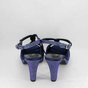 Sandalo cerimonia donna elegante in tessuto di raso blu con inserti glitter e cinghietta regolabile Art. A600 Gi. Effe Ci.