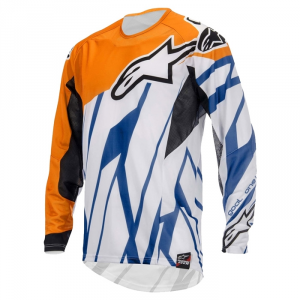 MAGLIA MOTO CROSS ALPINESTARS TECHSTAR JERSEY ORANGE WHITE BLU