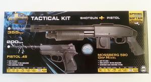 MOSSBERG Tactical Kit : Shotgun + Pistol .45 + 1000 BB's 0,12gr