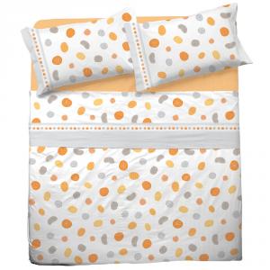 Set lenzuola matrimoniale 2 piazze in puro cotone BALLOON arancione