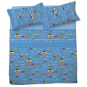 Set lenzuola singole 1 piazza in puro cotone MACCHININE azzurro