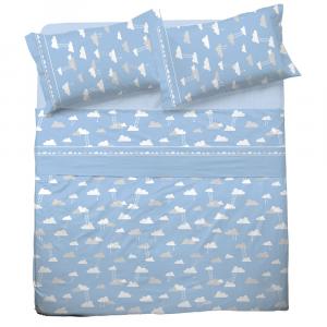 Set lenzuola una piazza e mezza in puro cotone NUVOLA azzurro