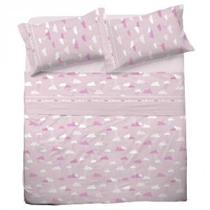 Set lenzuola una piazza e mezza in puro cotone NUVOLA rosa