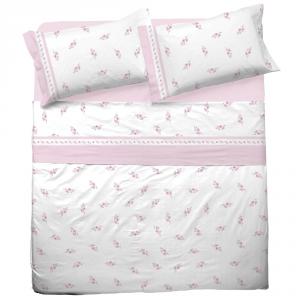 Set lenzuola matrimoniale 2 piazze in puro cotone PAOLA rosa