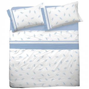 Set lenzuola matrimoniale 2 piazze in puro cotone PAOLA azzurro