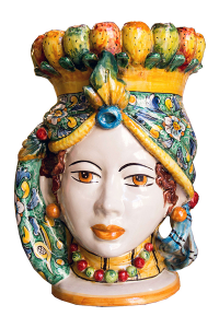 Testa Donna con Fico d'India in Ceramica