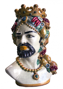 Ceramic from Caltagirone Man Head with Pomegranates