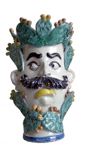 Man pot with mustache and prickly pear