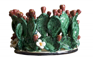 Caltagirone Ceramics Table Centerpiece Vase with Prickly Pear