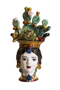 Ceramics of Caltagirone Lady with Prickly Pear