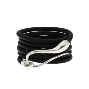 Bracciale in pelle con chiusura in argento e cinturino intercambiabile