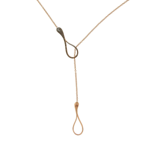 Collana Y-shape cm.5 in oro rosa e diamanti brown