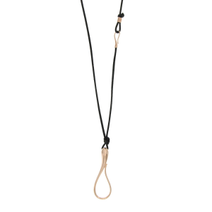 Elika Pendant in rose gold and leather