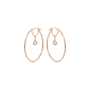 Hoop earrings in 18k gold and diamonds