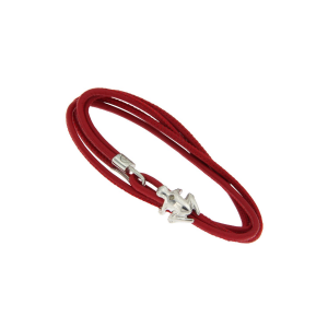 Leather bracelet, 925 silver and diamond