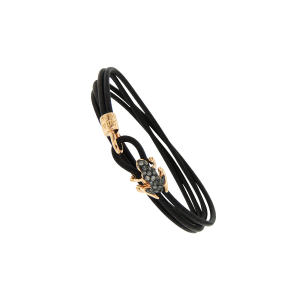 Leather bracelet, 18k gold and diamonds