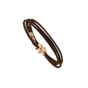 Leather bracelet, 9k gold and diamond