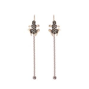Drop earrings in 18k gold and diamonds