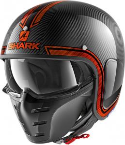 Casco jet Shark S-DRAK VINTA Carbonio Cromato Arancio