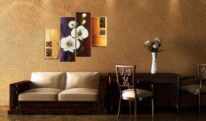Quadro dipinto orchidea bianca