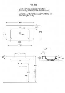 LAVABO SOSPESO 90X48XH 15 cm - SERIE TULIP ONE