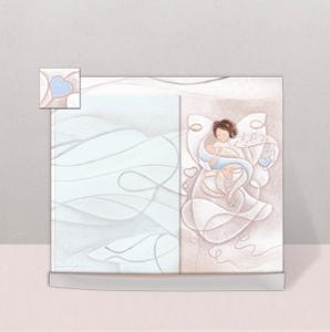 (Battesimo) Portafoto Melodia d'Amore (azzurro) 23 x 19 cm