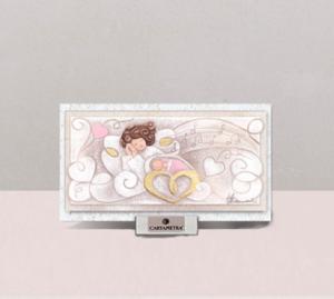 (Battesimo) Melodia d'Amore (rosa) 16 x 9 cm