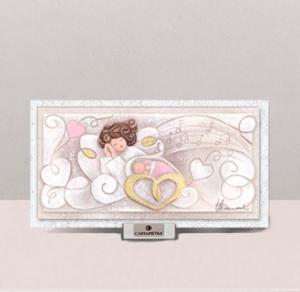 (Battesimo) Melodia d'Amore (rosa) 21 x 11 cm