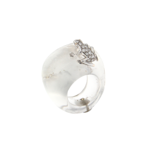 Ring in stone, 18k gold and diamonds