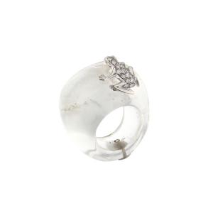 Anello in pietra, oro bianco e diamanti