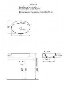LAVABO APPOGGIO 60X42XH 14cm - SERIE COMODA