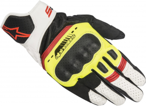 GUANTI MOTO IN PELLE ALPINESTARS SP-5 BLACK YELLOW FLUO WHITE RED FLUO