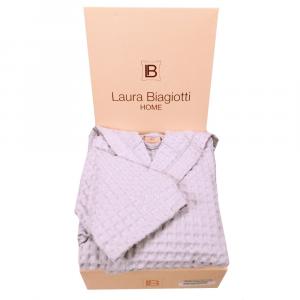 Accappatoio in nido d'ape con cappuccio Laura Biagiotti grigio perla