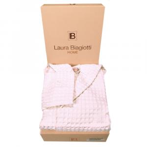 Accappatoio in nido d'ape con cappuccio Laura Biagiotti panna