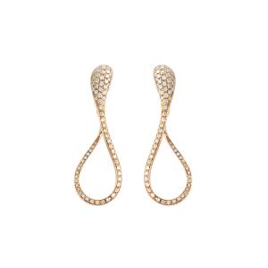 Orecchini Elika cm.5 in  oro rosa e diamanti