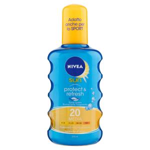 Nivea Sun Protect&Refresh Spray Solare Rinfrescante Trasparente FP20, Protezione Media, 200 ml