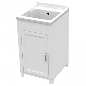 Mobile lavatoio in resina 45x50xh85cm bianco 1 anta vasca in resina
